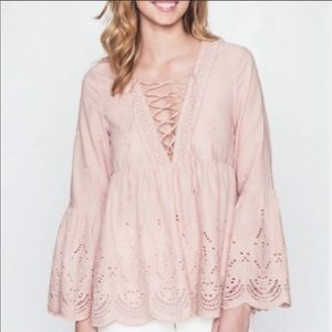 Loveriche Bell Sleeve Blush Embroidered Blouse